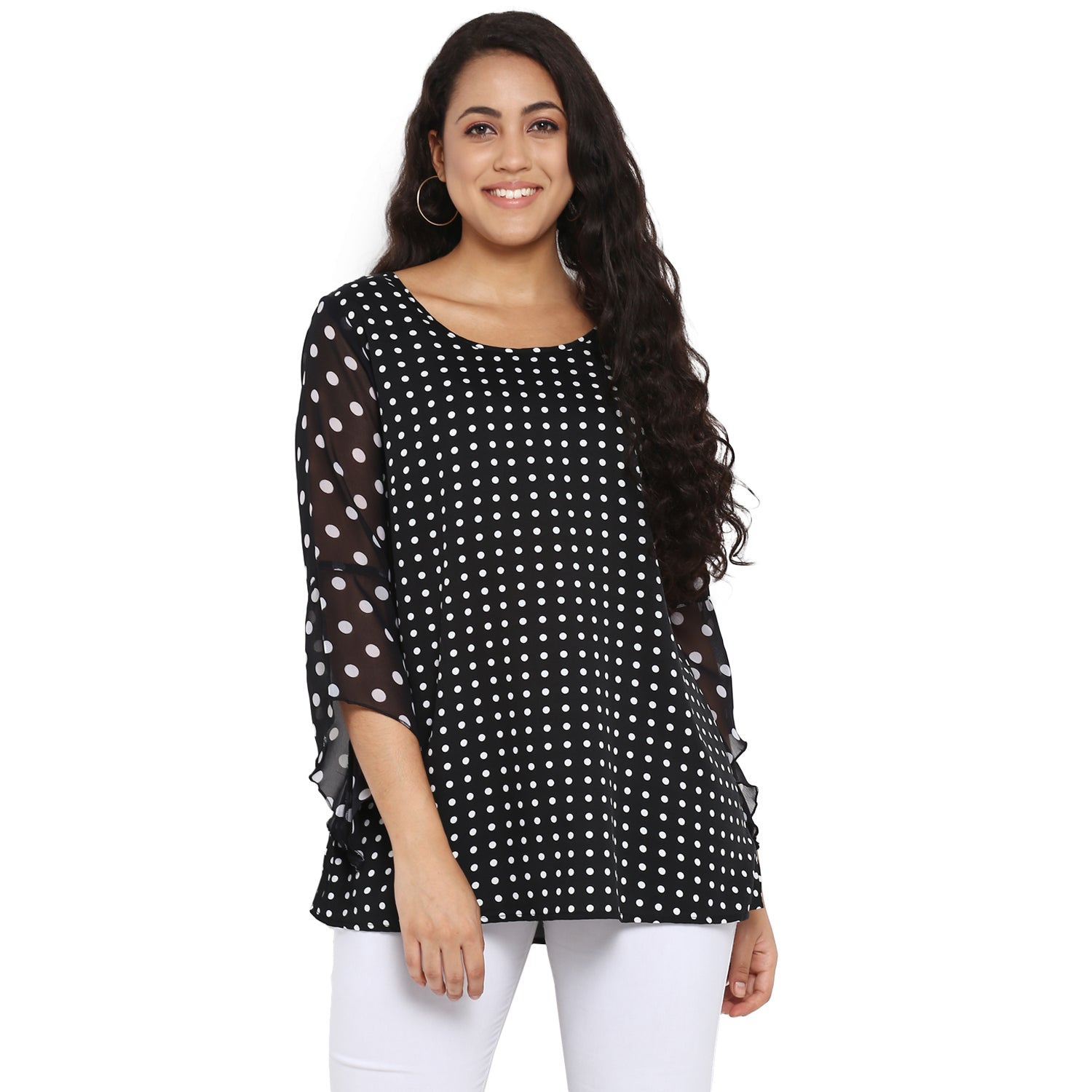 Black polka ruffle sleeves top