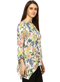 Floral sharbite Criss cross scoop neck tunic