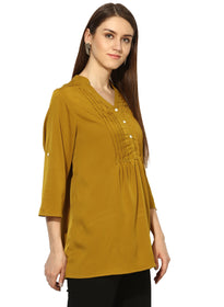 Gold pintex notch neck tunic