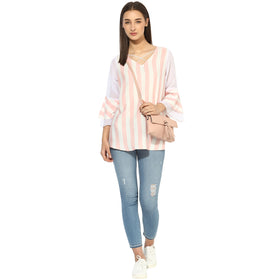 Mix media criss cross scoop neck ruffle sleeves top.