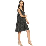 Black plaid gathered dress