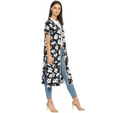 Navy floral long duster, pompom lace.