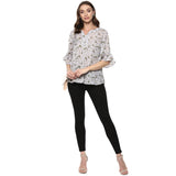 Qurvii Grey floral front gather top