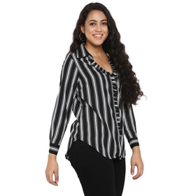 Black stripe ruffle placket shirt