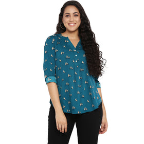 Teal owl print half placket