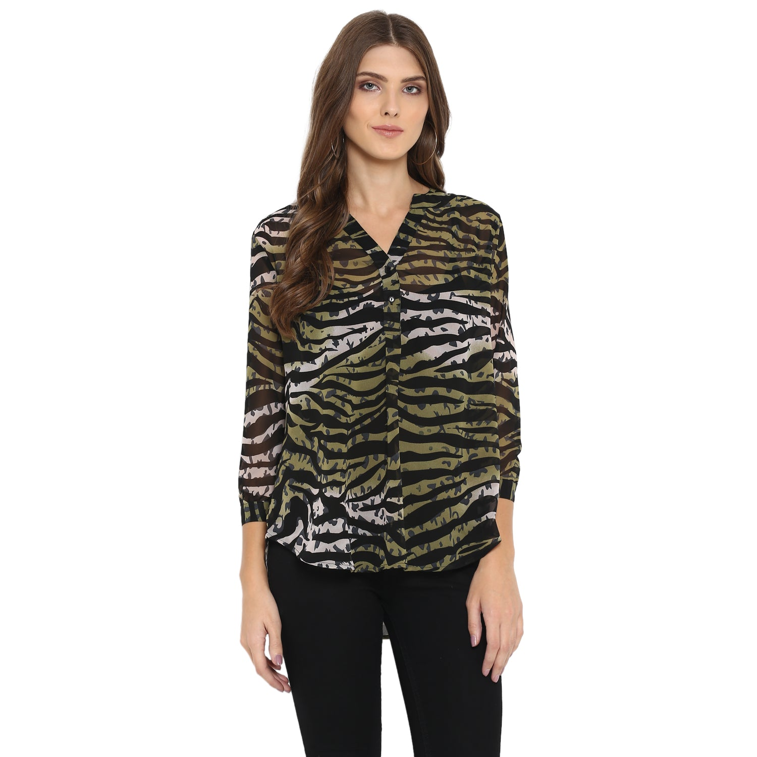 Green animal print half placket tunic