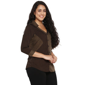 Brown printed double shaded side patch shirt,front change