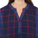 Navy/red check tunic