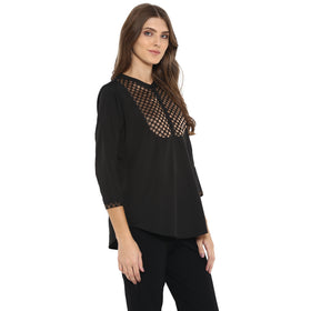 Black crepe tunic with brocade yoke