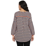 Geometric print V neck top,full sleeves