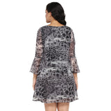 Grey animal print V neck dress,ruffle sleeves