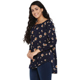 Navy floral,gather neck top