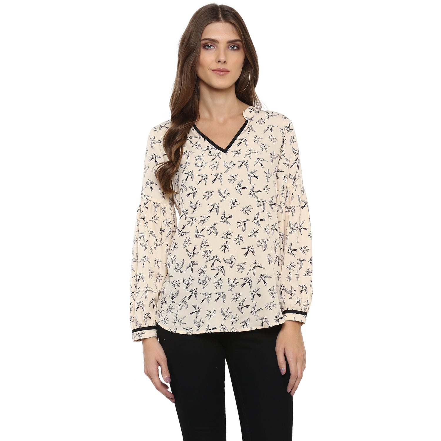 Bird print V neck tunic