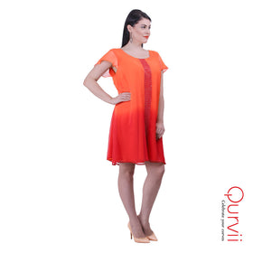 Swing Dress with Embelished neck Yoke