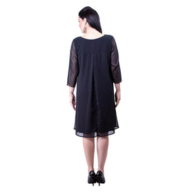 Brocade Yoke Swing Dress