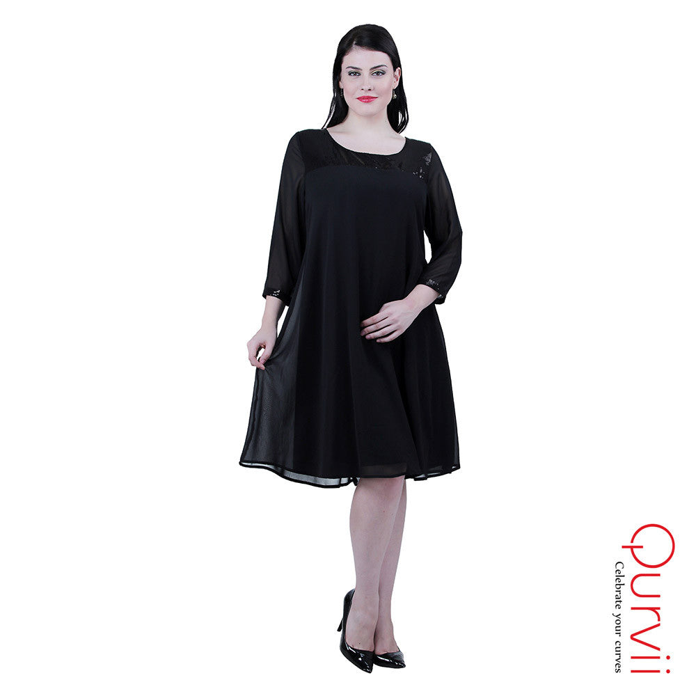 Black georgette swing dress