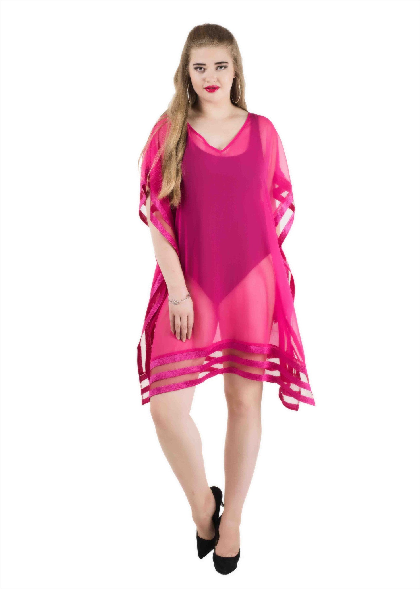 Mix media kaftan coverup