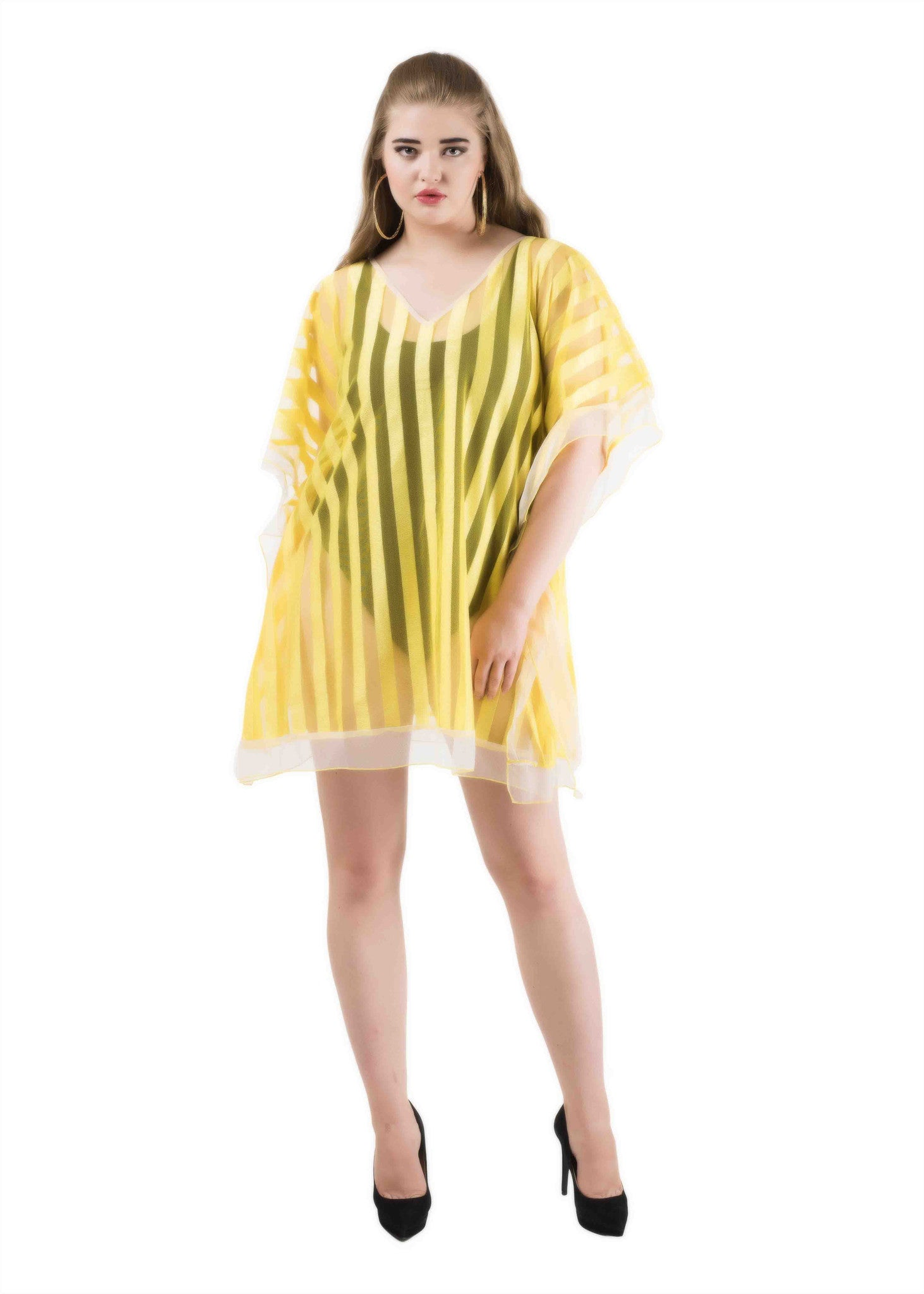 Striped kaftan coverup