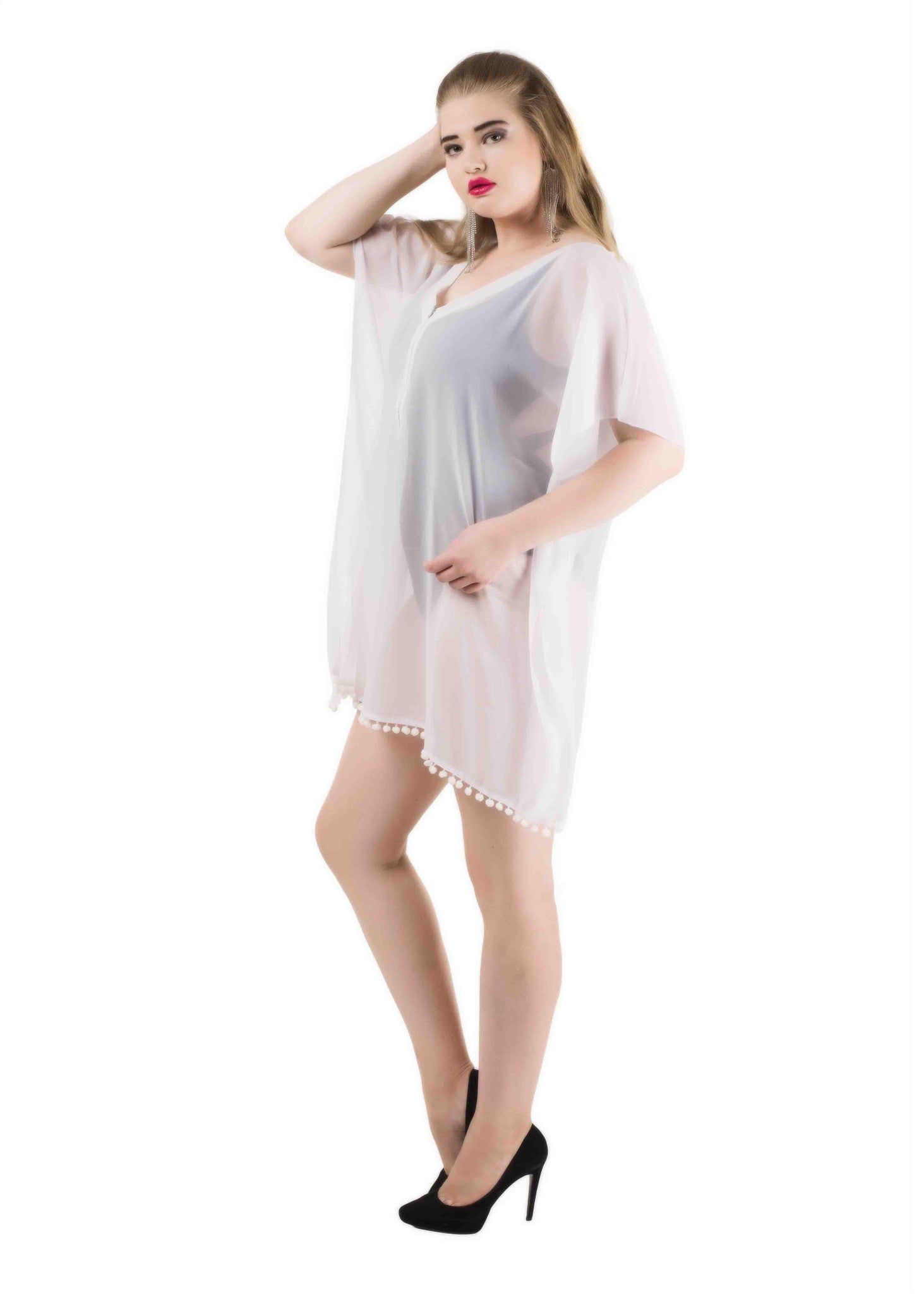 zipped kaftan top