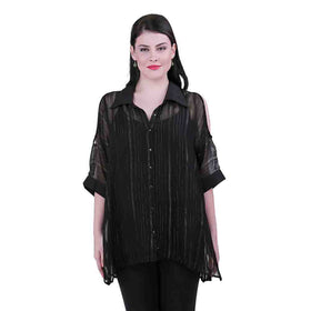 Cold Shoulder Sheer Shirt