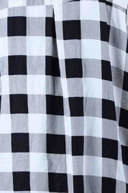 White Black Plaid Half Placket Shirt