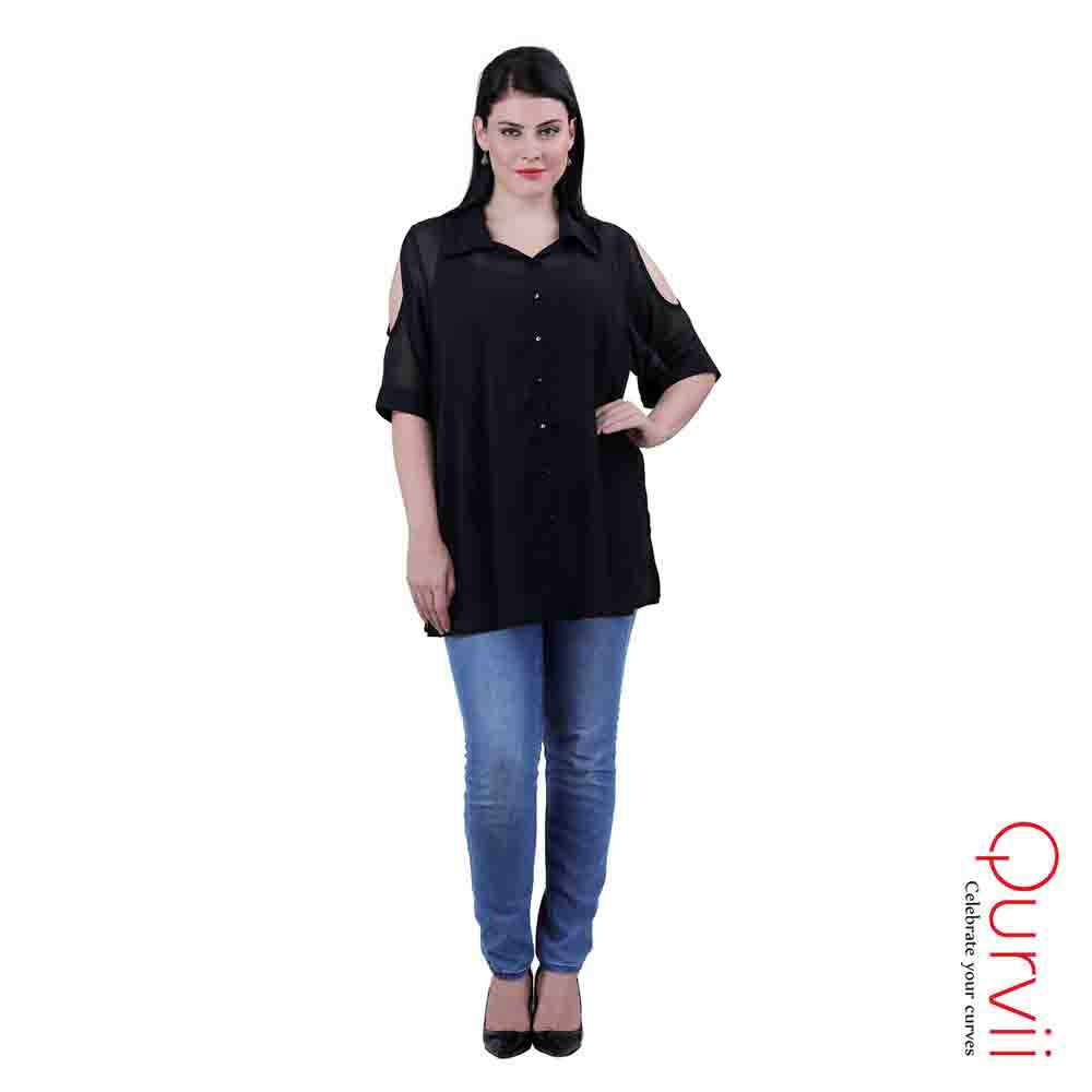 Short Sleeve Button down Cold Shoulder Shirt