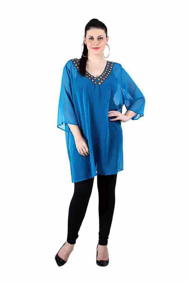 Teal embellished neck Tops/Tunics
