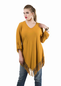 tasselled asymetrical hem Tops/Tunics