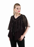 Black Layered MixedcMedia Tops/Tunics