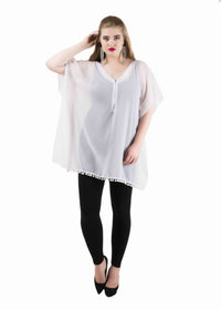 Sheer  Zipper Kaftan Top