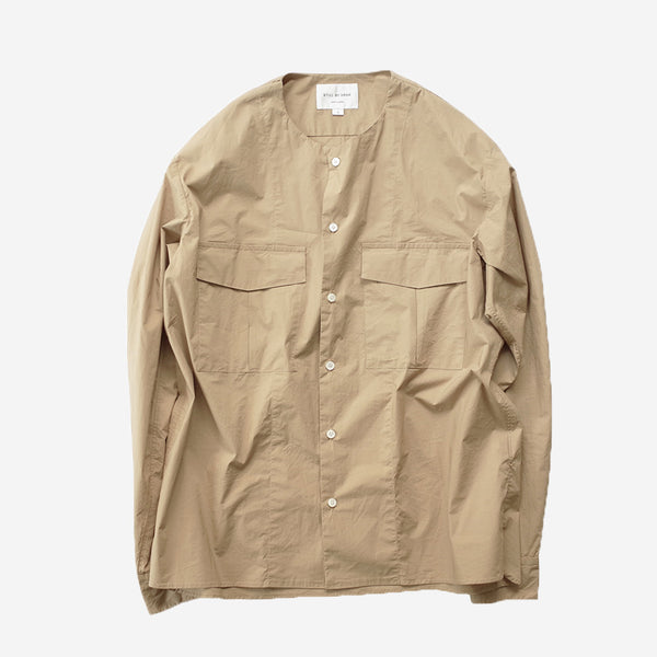 STILL BY HAND - W-Pocket Stretch Shirt - Beige