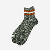 3 Line Slub Quarter Socks - Moss Green