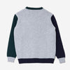 Country of Origin - 5 Gauge Tri-Colour Lambswool Crewneck - Grey/Green/Navy