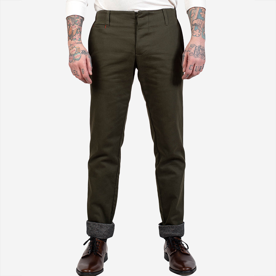 18 Waits - The Slim Trouser - Flannel Lined - Olive Bull Denim