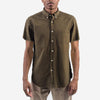 Portuguese Flannel - Atlantico Short-Sleeve Shirt - Olive Seersucker