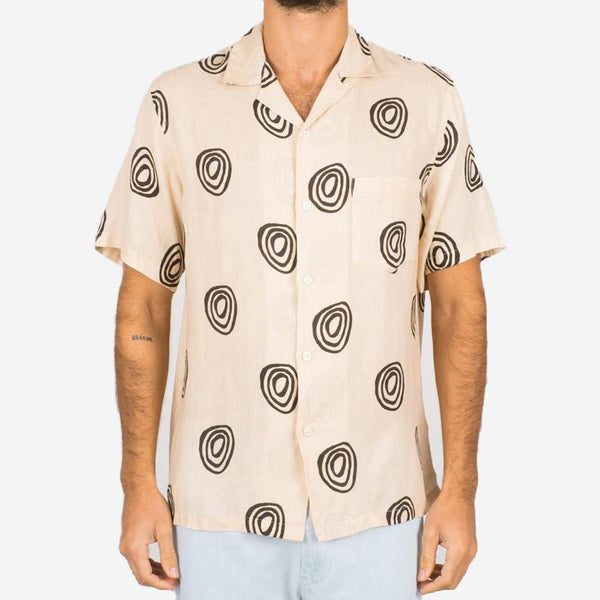 Portuguese Flannel - Aboriginal Short-Sleeve Vacation Shirt - Ecru