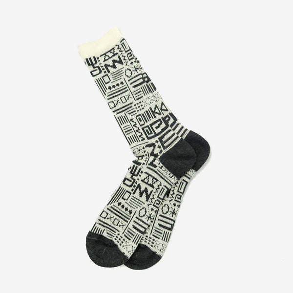 Anonymous Ism - African Geo Crew Socks - Off White