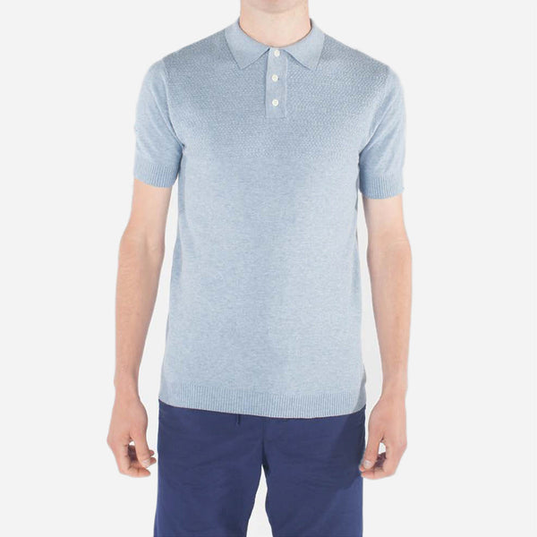 Kestin Hare - Attadale Knit Polo - Blue Marl