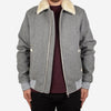 Aviator Wool Bomber Jacket - Grey