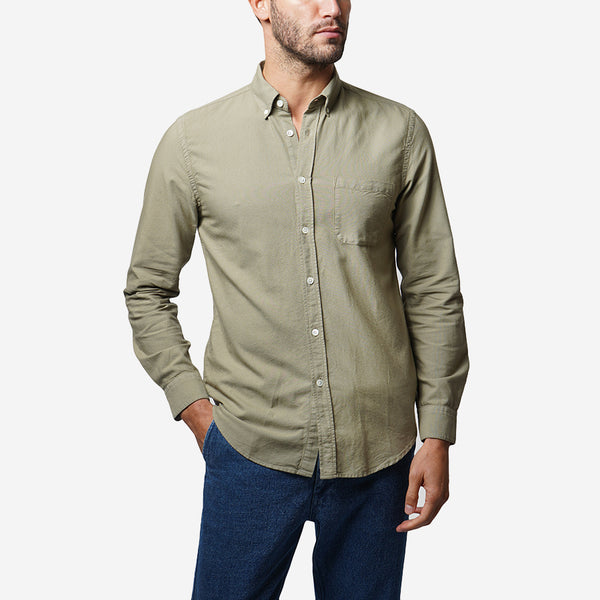 Belavista Lightweight Oxford Long-Sleeve Shirt - Light Olive