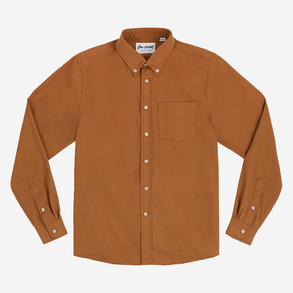 Gino Brushed Twill Flannel Shirt - Burnt Orange