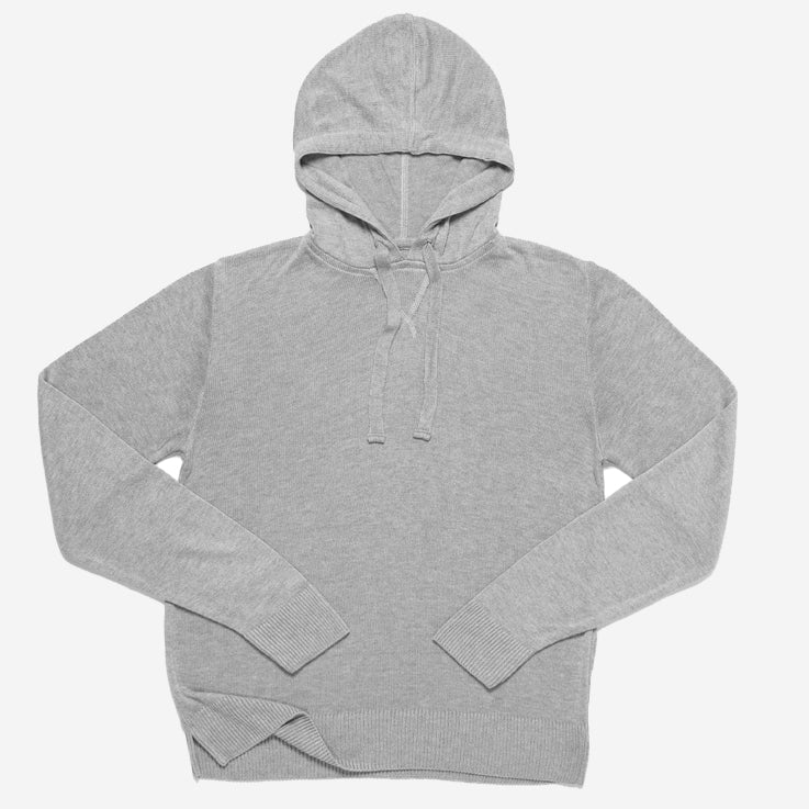 Outclass Attire - Bamboo Knit Pullover Hoodie - Cool Grey
