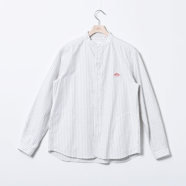 Band Collar L/S Oxford Pocket Shirt - Grey Stripe