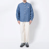 Band Collar L/S Oxford Pocket Shirt - Indigo Chambray