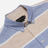Outclass Attire - Barre Popover Shirt - Blue/Sand