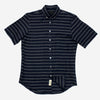 Outclass Attire - Barre Stripe Short-Sleeve Shrit - Linen Indigo