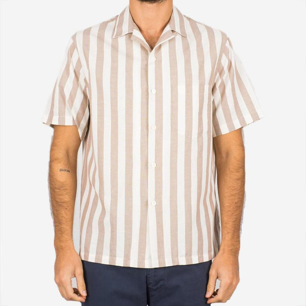 Portuguese Flannel - Bayonne Short-Sleeve Vacation Shirt - Taupe Stripe