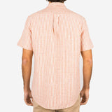 Portuguese Flannel - Beach Cabin Seersucker Short-Sleeve Shirt - Vintage Red Stripe