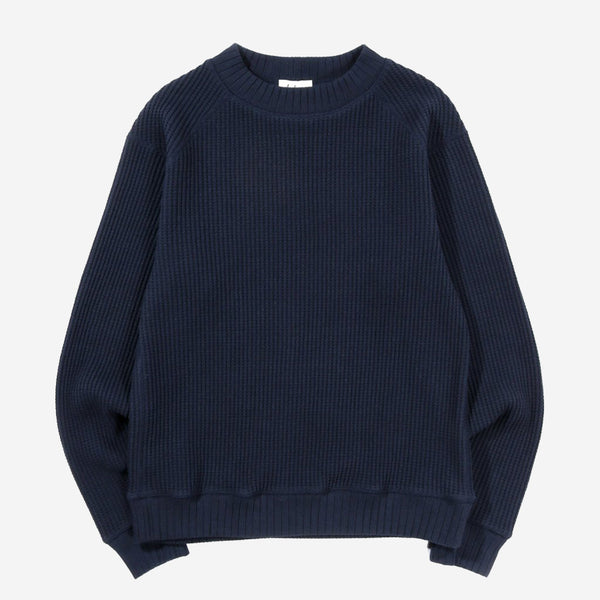 Big Waffle Mid-Neck Sweater - Dark Navy