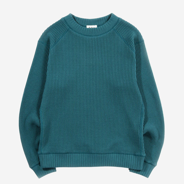Big Waffle Mid-Neck Sweater - Deep Aqua